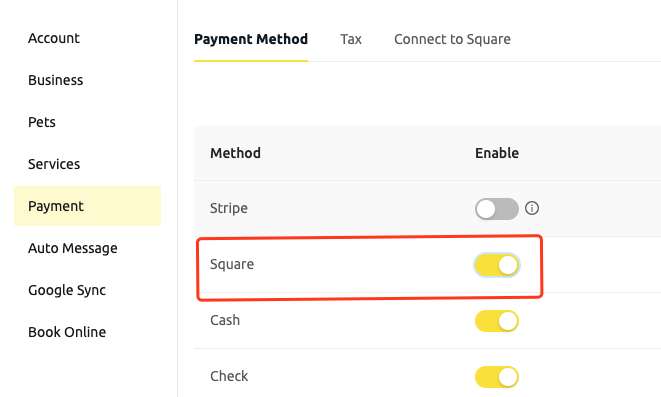 enable square payment method